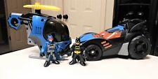 Imaginext Batman Batmobile & Batman Helicopter Lot with Figures