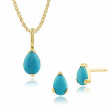Gemondo 9ct Yellow Gold Pear Turquoise Stud Earring & 45cm Necklace Set