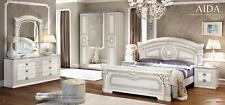 ESF Aida White & Silver Finish King Size Bedroom Set 6 Pieces, Made in Italy