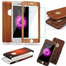 iPhone 5 & 6 Front + Back 360 Wood Design PC Case with Tempered Glass Protector