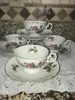 4 Tea cup & Saucer Sets, Moss Rose Pattern, Fine China.  EUC