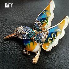Gold Tone Hummingbird Enamel Brooch Broach Diamante Bird Pin Vintage Style