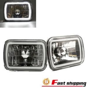 "7""X6"" inch 3D SMD HALO Headlights Sealed Beam Smoke Lens Chrome Halo Rings"