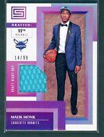 Malik Monk SP Status Draft Night Hat 14/99 RC 2017/2018 Panini Charlotte Hornets