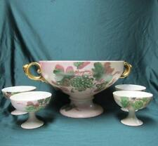 1920s  Rosenthal Porcelain Punch Bowl with Medusa Head Handles & 4 Cups Germany