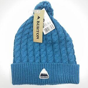 Burton Mini Cable Knit Hat Ski Cap Blue Larkspur - New