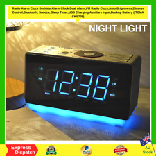 Digital Alarm Clock FM Radio Bedside Night Light,Dual Alarms USB Charge LED NEW