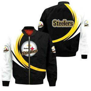 Pittsburgh Steelers Mens Pilot Bomber Jacket Flying Tigers Flight Thicken Coat