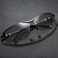 Photochromic Sunglasses Men Transition Lens Glasses Rimless HD Polarized Eyewear