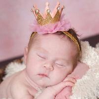 Kids Girl Baby Toddler Shiny Crown Headband Princess Hair Clip Lace Hair Ba MU_X