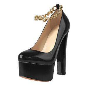 Women's Platform Shoes Chain Ankle Strap Heels Block Heel Pumps Sandals Clubwear