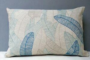 Voyage Designer Cushion Cover Daxby Sea Thistle Leaf Design Duck Egg Blue