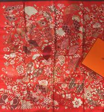 Foulard Carré  Hermes 90 Soie Fleurs Et Papillons 2013 Collector Scarf 35 Silk