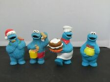 1980s Applause Sesame Street COOKIE MONSTER pvc figures - beach, Christmas +