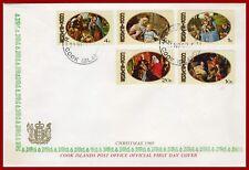 Cook Islands 1969 Christmas, ART, painting, set on FDC - SG 310-314, Mi 232-236