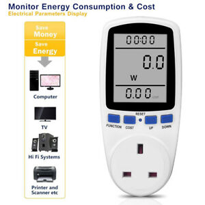 UK Plug in Electricity Power Consumption Meter Energy Monitor Watt Kwh Analyzer.