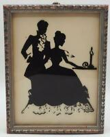 Vintage Silhouette Reverse Painted Wall Hanging Victorian Courting Couple
