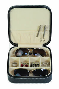 TIMELYBUYS Black 3 Compartment Sunglass Travel Case & Jewelry Box Storage