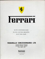 Ferrari 1971-72 UK Market Foldout Brochure Dino 246 GT 365 GTC4 365 GTB4 Daytona