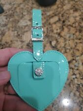 Tiffany Co. Heart Luggage Tag Blue Patent Leather and gift box- Gift New!