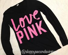 SEXY Victoria's Secret Black HOT PINK LOVE T Shirt Top LARGE L FITTED VS