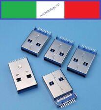 connettore a saldare USB 3.0 tipo A maschio 2 fissaggi verticale 9pin 180° SMT