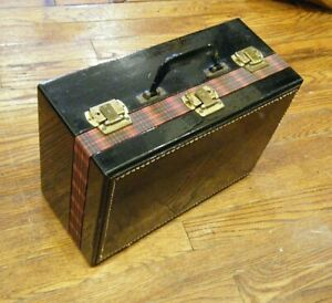 Vtg 1950s Red Tartan Black Vinyl Travel Case Two Locking Compartments Keys