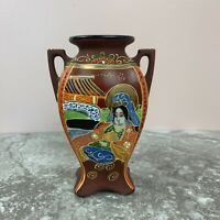 Vintage Satsuma Style Moriage Hand Painted Small Vase Made In Japan