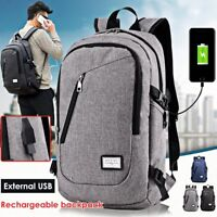 Men Anti-Thief Business External USB Charge Laptop Backpack Shoulder Bag Pack