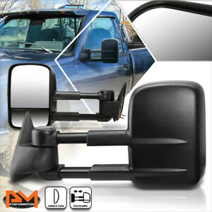 For 88-02 Chevy/GMC C/K 1500/2500/3500 Manual Extended Black Towing Mirror Pair