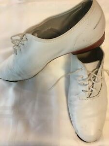 Stevens Stompers Clogging Buck Tap Shoes, Women's 10, White Leather, Scuffs/worn