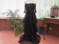 VTG 70S LONG TIERED LACE VTG MAXI DRESS SZ 12 STEVIE NICKS GOTHIC BOHO STEAMPUNK