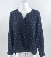 Bass Top Sz XL Navy Blue Pink Feather Print Split Neck Long Sleeve Blouse Womens