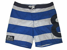 Rugby Ralph Lauren Polo Royal Blue White Stripe Swim Surf Board Shorts Suit 38