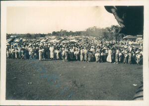 Hawker Hart Aircraft On Airfield Burma large Crowds of Local population  1930's