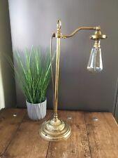 VINTAGE FRENCH ADJUSTABLE BRASS BANKERS MOUNTED DESK LAMP INDUSTRIAL FACTORY OLD