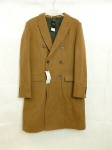 Next Camel Double Breasted Overcoat Large TD172 WW 04