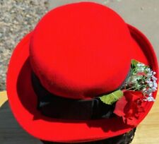Red HAT 100% Wool Felt with Black Ribbon Band and Red Roses & Baby's Breath Trim