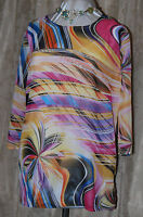 KATE & MALLORY BEAUTIFUL CHIFFON MULTI COLOR TUNIC BLOUSE  LARGE