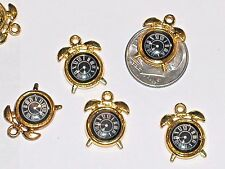 2 miniature dollhouse little golden Clocks watch time pendant charms New