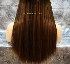 """16"""" BROWN FLIP IN SECRET CLEAR WIRE HUMAN HAIR BLEND EXTENSIONS NO CLIP IN/ON"""