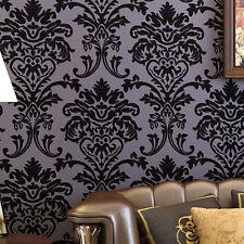 DarkPurple velvet Flocking Damask nonwoven Wallpaper mural Wall Decor Vinyl Home