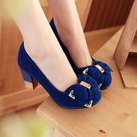 Womens Lolita Block Mid Heel Round Toe Mary Janes Cute Lady Pumps Court Shoes Sz