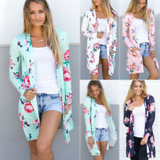 Womens Boho Floral Cardigans Autumn Long Loose Wrap Outwear Coat Tops Plus Size