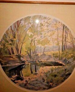 Original Watercolor Painting Landscape Artist Signed Salt Creek in Sunlight