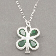 """FOUR LEAF CLOVER Necklace Good LUCK Irish Charm Pendant STERLING SILVER 18"""" 925"""