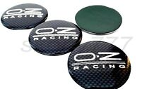 SET OF 4x 65mm Oz Racing Black Carbon Wheel Center Caps Curve Badge STICKERS
