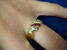 ELEGANT 18K YELLOW GOLD RUBY & DIAMONDS DESIGNER RING-BAND 4.4 GRAMS, SIZE 6.5