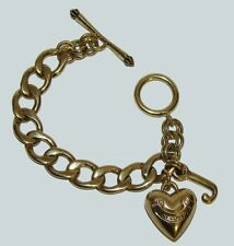 "JUICY COUTURE Bracelet Gold Charm 7"" Puffy Heart J Authentic"