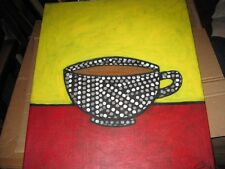 Abstract Expressionist Pop Art Oil on Canvas Coffee Cup signed c1980